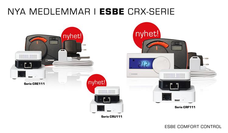 ESBE Comfort Control regleringar. 3 olika möjligheter att välja mellan. Produktbild.