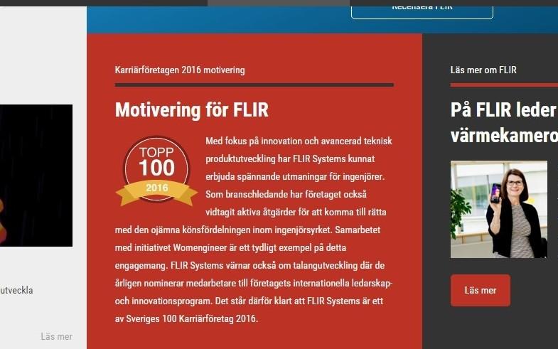 FLIR utsett till ett av Sveriges 100 mest spännande karriärföretag