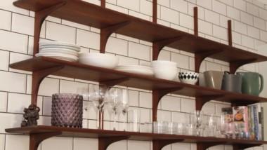 Bespoke Kebony kitchen shelves