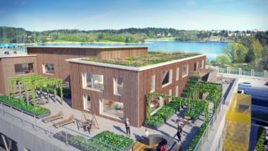 FSC-märkt KL-trä hjälper kontorsfastighet att nå platinanivå inom miljöcertifiering