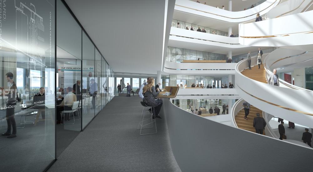 Den nya byggnaden, designad av den renommerade danska arkitektbyrån 3XN, strävar efter att vara en modern arbetsplats som uppmuntrar till kommunikation över avdelningsgränserna och främjar spontana sammankomster och kunskapsutbyten.