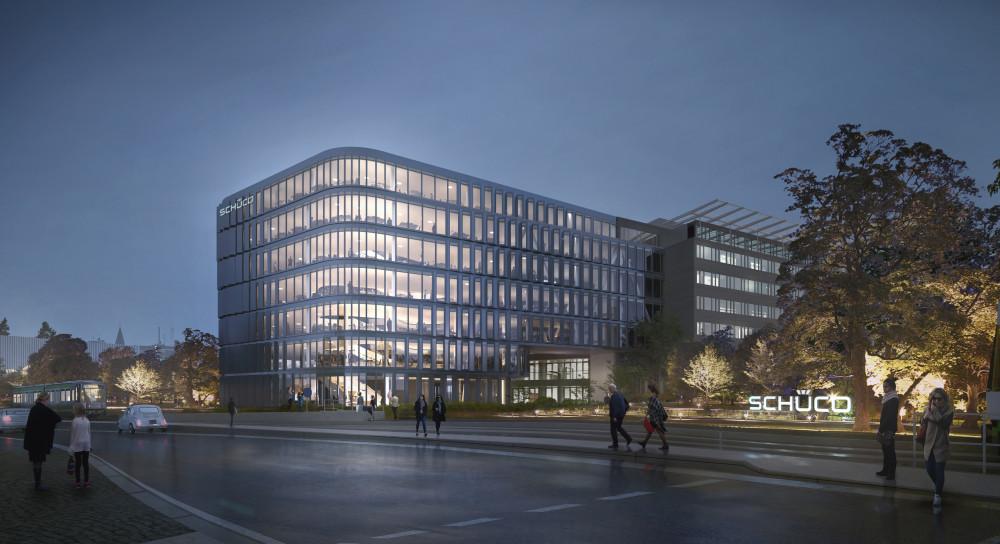 Den planerade nya byggnaden med dess eleganta fasad kommer att byggas ihop med existerande huvudbyggnad via en fem våningar hög glasbro över Schücostraße.