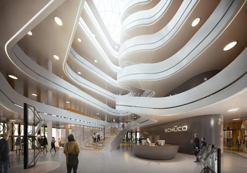 Ett dynamiskt atrium kommer att utgöra en arkitektonisk höjdpunkt och bli till en central mötesplats. Rumsdesignen är tänkt att skapa en öppen och kommunikativ arbetsmiljö för att främja dialog och kunskapsutbyte.