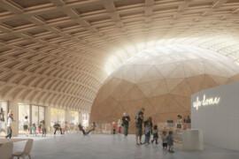 Elding Oscarson ritar domteater i trä vid Tekniska museet