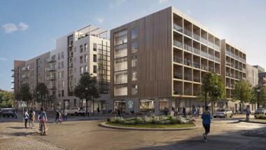 De bygger studentbostäder i trä i Barkarbystaden