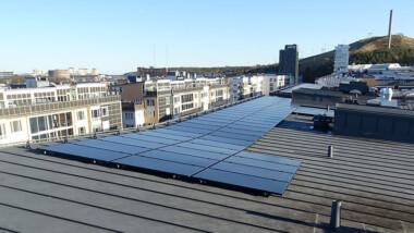Solkraftverk producerar el i Kvarteret Maltet